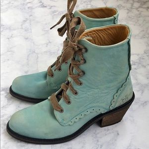John Fluevog Adriana Billy Blue Lace Up Boots 7.5